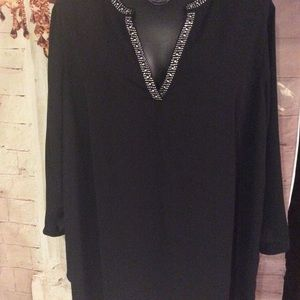 Zac & Rachel Womens 2X Black Blouse Tunic Long Slv